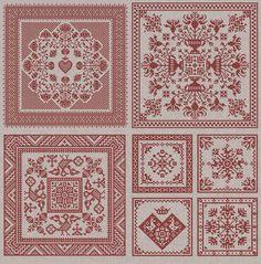 Garten-Quadrate  vier Original Kreuzstich Muster  von modernfolk                                                                                                                                                                                 Mehr