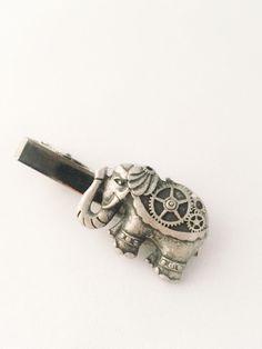 Steampunk Tie Clip  Mens Accessories Elephant by ArcanumByAerrowae