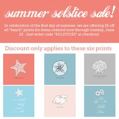The summer solstice sale is going on now through Sunday, June 23 for any of the six prints featured on this photo.  Just head on over to http://www.etsy.com/shop/LineArtPrints to have a closer look now!  #summer #solstice #sale #beach #shell #conch #sand #dollar #scallop #starfish #art #lineartprints @Ingrid Beckman