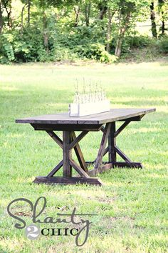 Farmhouse Table by Shanty 2 Chic Outdoor Farmhouse Table, Outdoor Tables, Farmhouse Decor, Farm Tables, Rustic Table, Outdoor Ideas, Farmhouse Style, Wood Tables, Side Tables