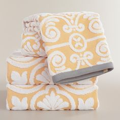 Yellow Sculpted Tile Riviera Bath Towel Collection | World Market