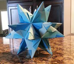 Blue Origami Star Decoration - $10