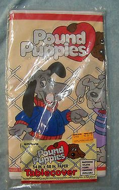 NIP Vintage 1986  Pound Puppies Paper Tablecover Birthday Party Supplies Tonka