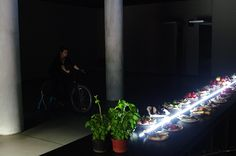 Light bike, performance, 120 min, MOS, Krakow, Poland, 2014.  My performance could be seen the opening of the Correspondences and interventions exhibition. The performance was at an absolutely dark room of MOS, where also was the catering. I put some dynamos to my bike and these were connection with a eight meters long led line, that was between food and drink. I provided exclusive light as long as the food and drink, and the visitors run out.
