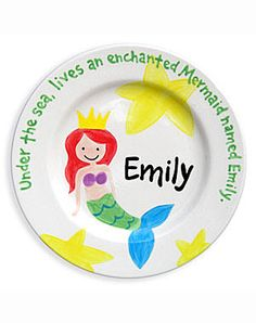 This adorable mermaid plate makes a great gift for a special little girl in your life. This adorable personalized ceramic plate is 100% hand-painted in the U.S.A. All plates are dishwasher safe. An ad