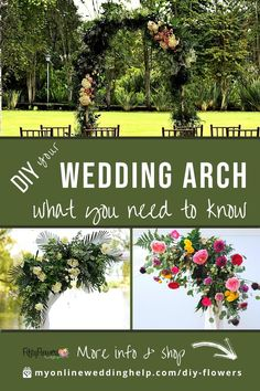 A DIY wedding arch can be as simple or as complex as you want it. Here are some tips and steps for making your own. Also, learn where to find the flowers and greenery in the photos. Read it on the MyOnlineWeddingHelp.com blog Diy Wedding Arch Flowers, Wedding Arch Greenery, Simple Wedding Arch, Simple Wedding Bouquets, Diy Wedding Backdrop, Outdoor Wedding Decorations, Diy Flowers, Diy Flower Arrangements For Wedding, Wedding Arches