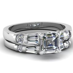 Your #1 Source for Jewelry and Accessories » 1.65 Ct Asscher Cut Diamond Engagement Wedding Rings Set SI2 GIA