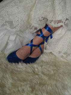 Cobalt Blue Bridal Ballerina Slipper Royal by HopefullyRomantic