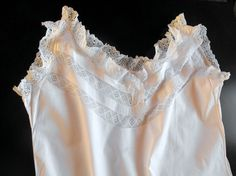 Vintage French Nightgown   from   ~FRENCH VINTAGE LINENS AND ANTIQUES~  Where you will find Beautiful & Unusual   French Antique & Vintage Linens  & Antique & Vintage Decorative Items for your Home    We have a wide range of Fine Bed Linens, Table Linens, French & English Christening Gowns, Baby & Children's Apparel,& many 'Brocante' items.  Click on image to see this item & visit our Etsy Shop at  www.Etsy.com/shop/Vintagefrenchlinens  Welcome…et Bienvenue!