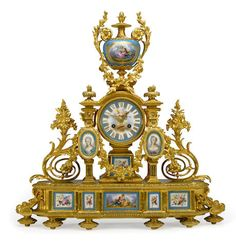 A French gilt bronze and Sevres style porcelain mounted mantel clock, second half 19th century.