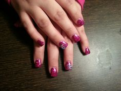 Pink glitter gel nails