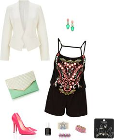 Tribal Spring/Summer Outfit, Havren clohing, Romper, white tuxedo jacket, mint, hot pink