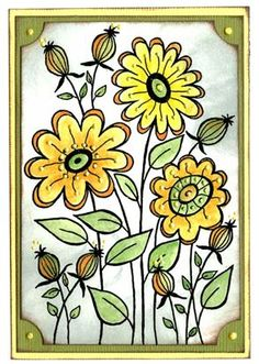 Woodware - Spring Flowers... love this Flower Doodles, Digi Stamps, Spring Flowers, Note Cards, Cardmaking, Sewing Crafts, Decoupage, Paper Crafts, Clip Art