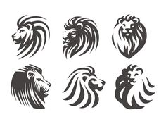 Lion head logo set - vector illustrations, emblem design on white background. Silhouette Lion, Silhouette Tattoos, Silhouette Clip Art, Silhouette Images, Lion Head Logo, Lion Head Tattoos, Lion Logo, Lion Tribal, Greek Mythology Tattoos