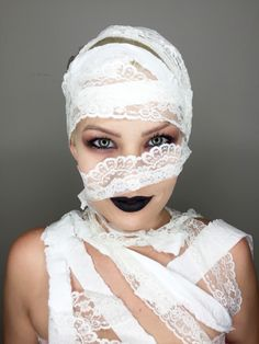 Lace and tissue paper mummy Halloween costume. Very cute and easy Halloween costume idea @makeupartist411