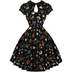 Hell Bunny Salem 1950s Dress Dresses ❤ liked on Polyvore featuring dresses, gothic lolita dress, goth dress, evening wear dresses, hell bunny dresses and vintage prom dresses #vintagepromdresses