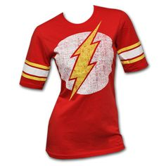 Flash Distressed Logo Raglan Red Juniors Graphic Tee Shirt