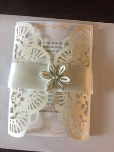 12 laser cut Ivory Metallic wedding invitation Envelope  | eBay