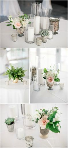 Romantic wedding reception centerpiece ideas, shabby-chic vases, white candles, succulents, light pink and white florals // Melissa Maureen Photography