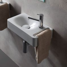 Scarabeo by Nameeks Sleek Hung Rectangular Wall Mount Bathroom Sink with towel holder built-in. Sink has 1 faucet hole. The sink is made of high-quality ceramic in a white finish. Perfect for modern bathrooms. Small Bathroom Sinks, Bathroom Faucets, Modern Bathrooms, Bathroom Ideas, Bathroom Organization, Corner Sink Bathroom, Remodled Bathrooms, Farmhouse Bathrooms, Zen Bathroom