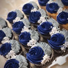 I really love how these bridal shower cupcakes turned out! I was worried the colors the customer requested would be too somber for the occasion, so after speaking to her again, we changed the design from regular-style cupcakes to these pretty ones Navy Cupcakes, Frost Cupcakes, Cupcakes Design, Cheesecake Cupcakes, Cake Designs, Elegant Cupcakes, Pretty Cupcakes, Flower Cupcakes, Cookies Cupcake