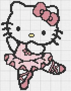 sandylandya Free Ballet Hello Kitty Cross Stitch Chart or Hama Perler Bead Pattern Más Beaded Cross Stitch, Crochet Cross, Cross Stitch Baby, Crochet Chart, Cross Stitch Charts, Cross Stitch Designs, Cross Stitch Embroidery, Embroidery Patterns, Cross Stitch Patterns