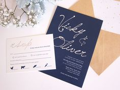 Navy with Silver Foiling Wedding by LittleBridgeDesign on Etsy