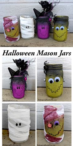 Many people like mason jars because they are easy to find and cheap. Halloween is coming. You can make many wonderful Halloween crafts from mason jars. You can give them to your friends as great gifts, or you can use them as perfect seasonal decorat Halloween Jars, Diy Halloween Decorations, Halloween Crafts, Homemade Halloween, Cheap Halloween, Hollween Decorations, Halloween Centerpieces, Halloween Halloween, Mason Jar Projects