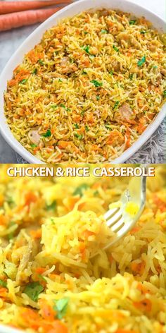 easy meals for dinner This simple and easy Chicken Rice Casserole makes an elegant and tasty dinner. Made with onions, carrots, basmati rice, and chicken, you wont believe how delicious this meal is! Cooktoria for more deliciousness! Easy Chicken Rice Casserole, Easy Chicken And Rice, Casserole Recipes, Pasta Recipes, Cooking Recipes, Chicken Pasta, Crockpot Recipes, Easy Chicken Meals, Broccoli Chicken