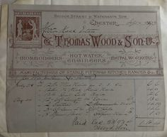 Thomas Wood & Sons Ironmongers & Metal Workers Chester 1893 Invoice