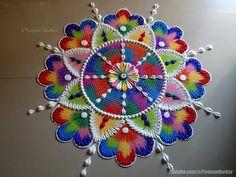 Colorful, bright and unique rangoli for festivals Rangoli Designs Latest, Simple Rangoli Designs Images, Rangoli Designs Flower, Rangoli Ideas, Rangoli Designs With Dots, Rangoli Designs Diwali, Flower Rangoli, Beautiful Rangoli Designs, Kolam Designs