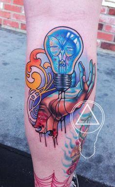 London Reese - Hopeful Butterfly Light Bulb Tattoo