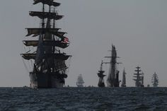 The USCG Eagle leads the tall ships in Friday during the OpSail 2012 Parade of Sail. (Joe Fudge / June 8, 2012)