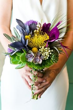 Modern wedding bouquet idea - succulent bouquet with craspedia + bright flowers {Cory Ryan Photography}