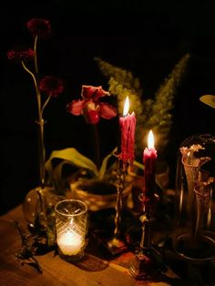 Dark academia wedding decor with red candlesticks and sprigs of greenery