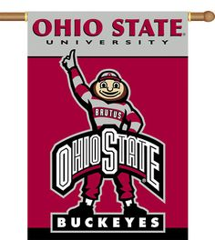"""New Ohio State Buckeyes Brutus 2 Sided 28""""x 40"""" Banner"""
