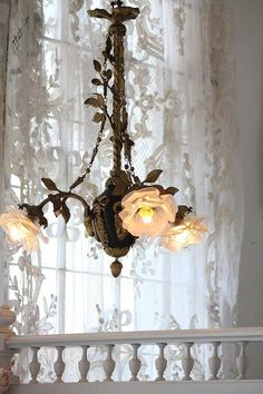Chic chandelier in front of shabby lace curtain. Decor, Lamp, Beautiful Lighting, Lights, Shabby Chic Cottage, Home Decor, Magical Home, Shabby Chic Homes, Shabby Chic