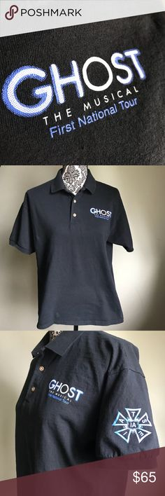 Ghost National Tour Crew Polo Shirt, Men's Medium This is a shirt from work- I worked for the broadway show for a week during there stay in Rochester NY. It is a high price because of sentimental value of my own memories put into this production via our Local IATSE 25 Union. 😎🎤🎭  Support your Local Unions!  Support your Local Arts! Shirts Polos