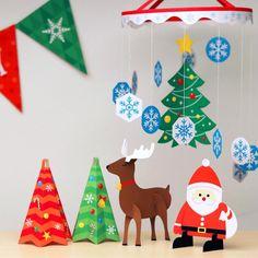 簡単・無料ダウンロードのクリスマスサンタ・トナカイオーナメント!✧*。ヾ(。>﹏<。)ノ゙✧*。 飾りつけのポイントに、紙なので軽くてカワイイんです〜♪