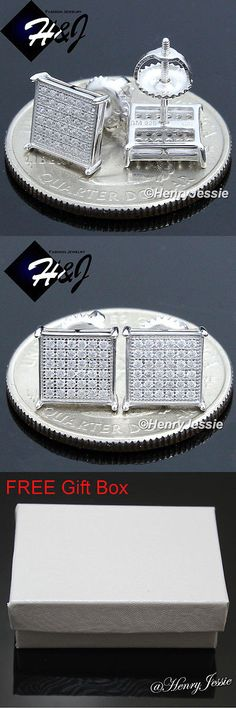 Earrings Studs 14085: Men 925 Sterling Silver 7Mm Square Lab Diamond Iced Screw Back Stud Earring*E127 -> BUY IT NOW ONLY: $18.99 on eBay!