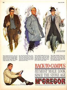 Back to Campus with the Most Male Look since the Stone Age ad by Howard Terpning
