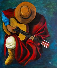 Gaucho Serenade - Albert Kopper - Paintings & Prints, People & Figures, Other People & Figures, Male - ArtPal Acrylic Painting Canvas, Canvas Art, Wall Canvas, Canvas Prints, Peruvian Art, African Art Paintings, Modern Art Paintings, Music Painting, Mexican Folk Art