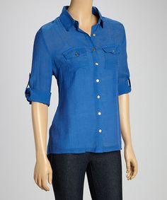 Blue Button Up Shirt Womens