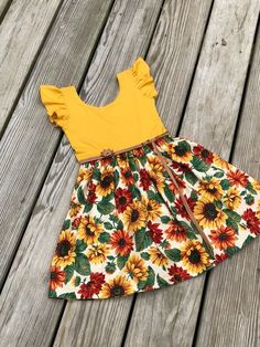 Mustard sunflower dress / fall floral dress / flutter sleeves | Etsy Girls Fall Dresses, Baby Girl Dresses, Baby Dress, Easter Dresses For Women, Dress For Girl Child, Dresses For Teens, Modest Dresses, Baby Frocks Designs, Kids Frocks Design