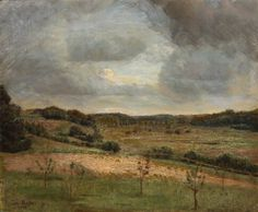 A hilly green landscape, evening by Julius Paulsen. Medium: Oil on canvas. Lot was auctioned Feb 2017 at Paintings and furniture, Online, Online Canvas Size, Oil On Canvas, Green Landscape, Oil Paintings, Danish, Artists, Fine Art, Painted Canvas, Danish Pastries
