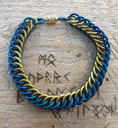 """Chainmail Bracelet, Half-Persian Blue and Gold Anodised Aluminium Bracelet, Magnetic Clasp, 8""""-8-1/4"""" by NorseWorks on Etsy"""