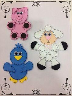 Animalitos de la granja hechos con perforadores de figuras
