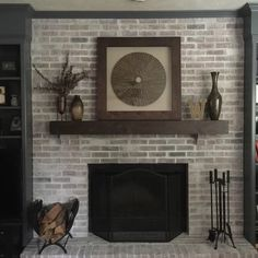 New Snap Shots unique Fireplace Mantels Ideas The Modern Farmhouse mantel shelf is another unique piece in the popular line of real wood décor f White Wash Brick Fireplace, Fireplace Update, Paint Fireplace, Brick Fireplace Makeover, Fireplace Shelves, Home Fireplace, Fireplace Design, Mantel Shelf, Fireplace Ideas