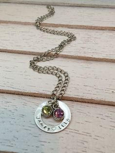 Custom Hand Stamped Mother's Necklace Washer by RunsOnGrace