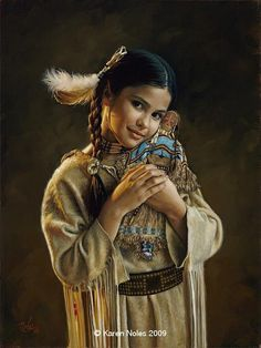 Native American little girl ☆ Endearment :¦: By Artist Karen Noles ☆